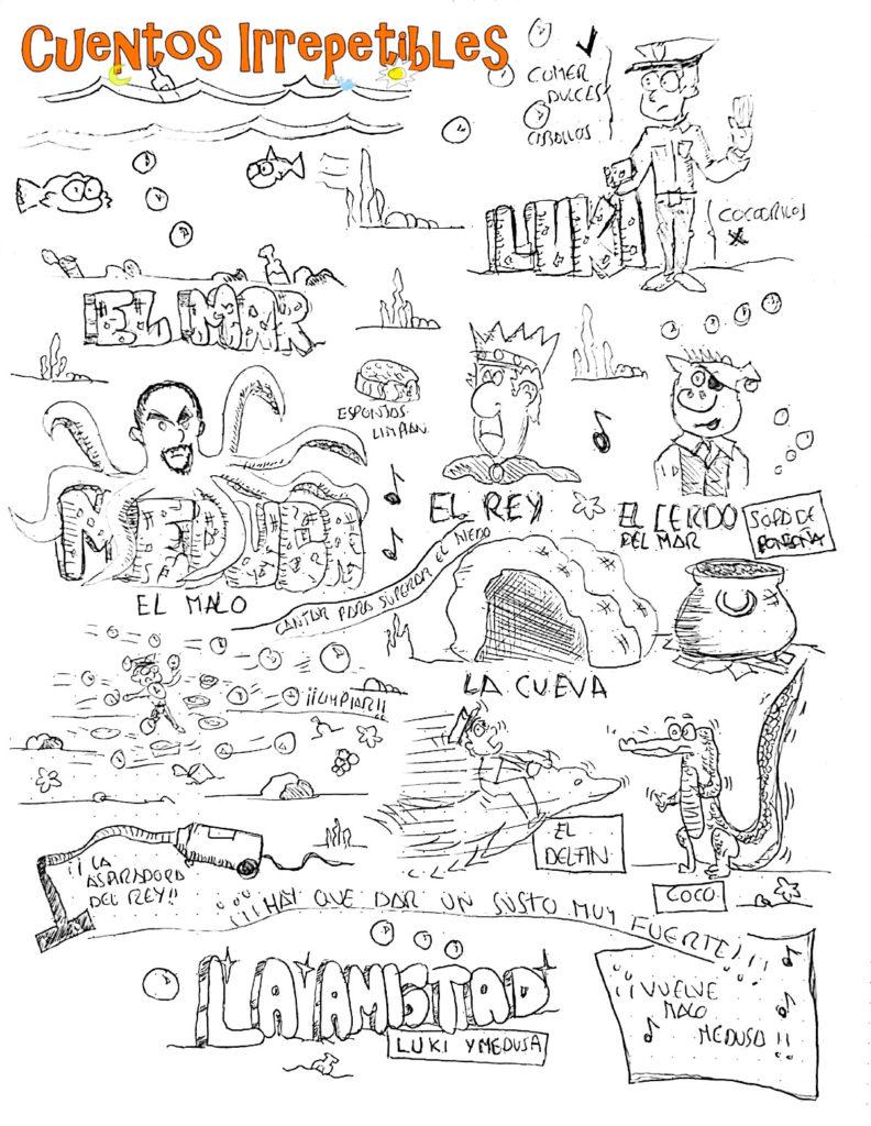 Ilustración del cuento La Amistad, Luki y Medusa. Creada en vivo el 16 de noviembre de 2019