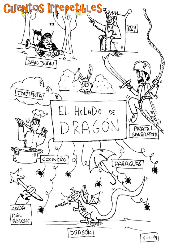 Ilustración del cuento El helado de Dragón. Creada en vivo el 6 de abril de 2019