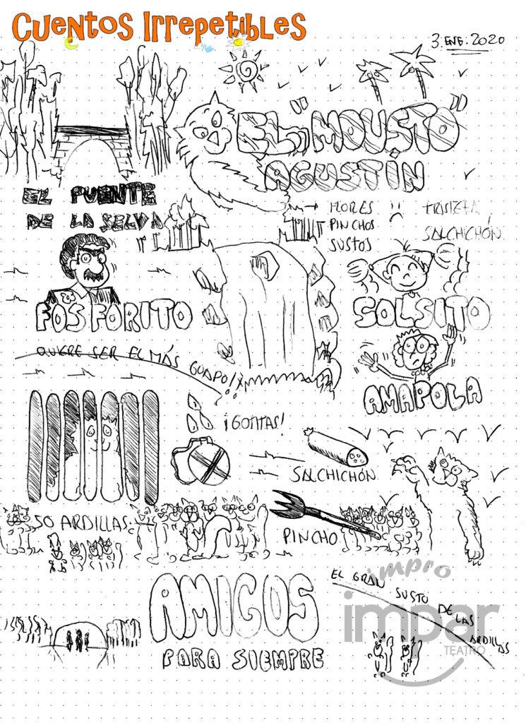 Ilustración del cuento Amigos para siempre. Creada en vivo el 3 de enero de 2020