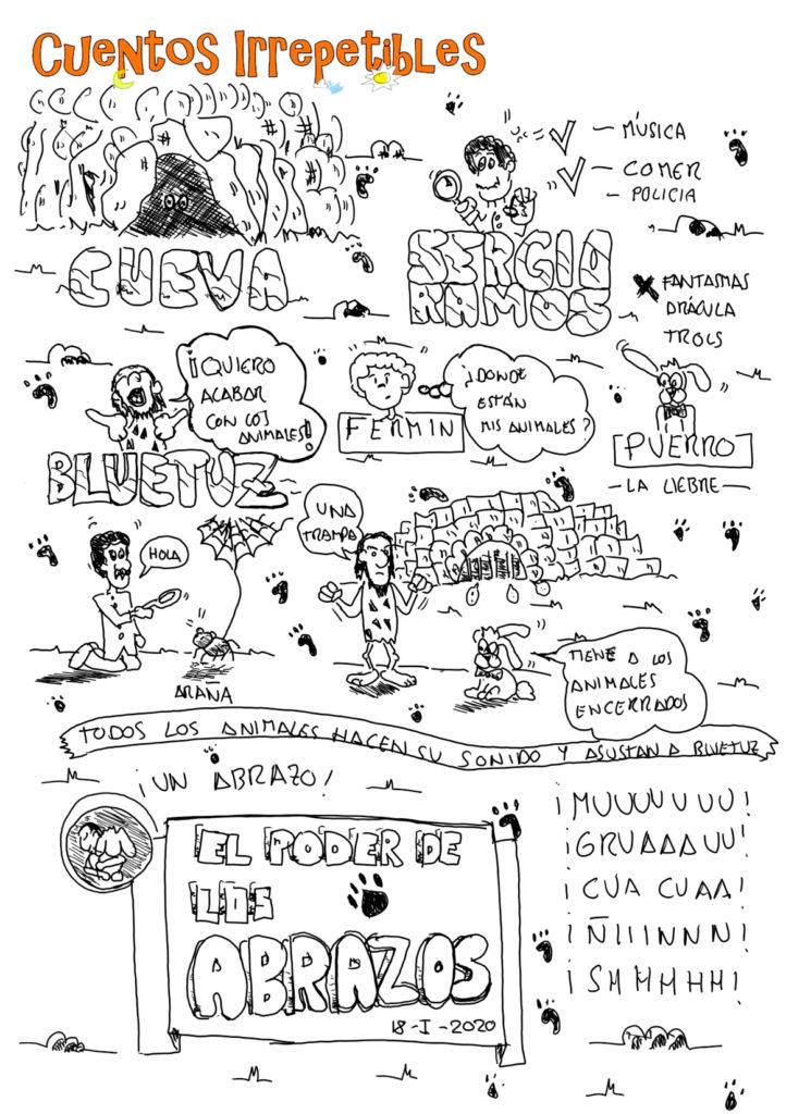 Ilustración del cuento El Poder de los Abrazos. Creada en vivo el 18 de enero de 2020