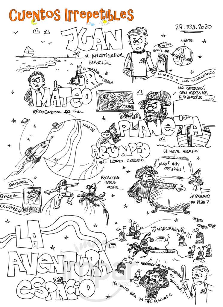 Ilustración Cuento Irrepetible La Aventura del Espacio, creada en directo por Fer Molina.